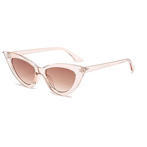 WQZYY&ASDCD Gafas de Sol Gafas De Sol De Ojo De Gato Verdes Transparentes para Mujer con Montura Pequeña, Frontera De Moda, Gafas De Sol De Espejo Personalizadas Retro Clásicas-C07