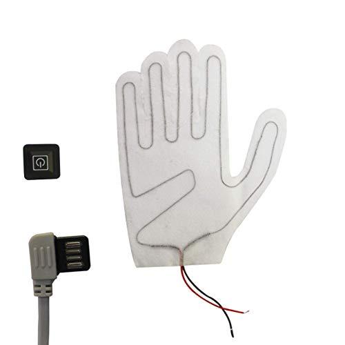 QMJHHW Lámina calefactora para Guantes, lámina calefactora con Interruptor de termostato de 3 velocidades, Almohadillas térmicas eléctricas para Guantes de Cinco Dedos 2pcs