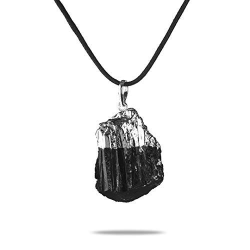 Colgante de Turmalina Negra con Joyas Curativas de Cristal de Plata | Ideal para Aclarar y Proteger el aura de influencias negativas | Bisutería de Moda en Turmalina Negr