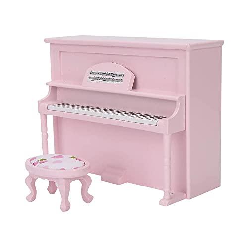 OMVOVSO Mini Piano, réplica de Piano de la casa de muñecas, 1:12 Accesorios de la casa de muñecas, muñecas de Madera para niños, sin Sonido, Adornos,Rosado