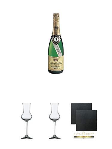 Andrea da Ponte Vecchia Grappa di Prosecco Italien 0,7 Liter + Grappaglas Stölzle 1 Stück - 205/26 + Grappaglas Stölzle 1 Stück - 205/26 + Schiefer Glasuntersetzer eckig ca. 9,5 cm Ø 2 Stück