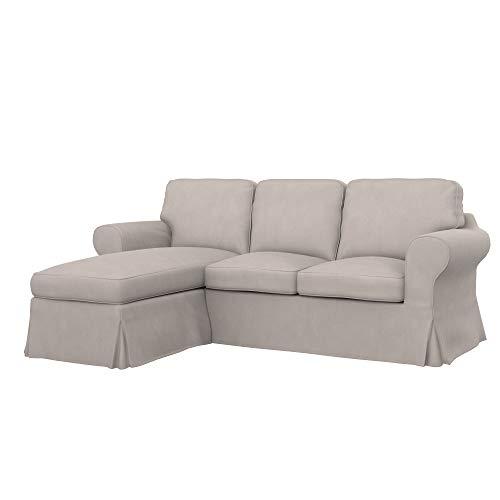 Soferia Bezug fur IKEA EKTORP 2er-Sofa mit Recamiere, Stoff Majestic Velvet Dove