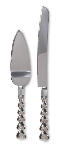 Darice VL0032, Heart Metal Knife Server Set Boxed Engraved
