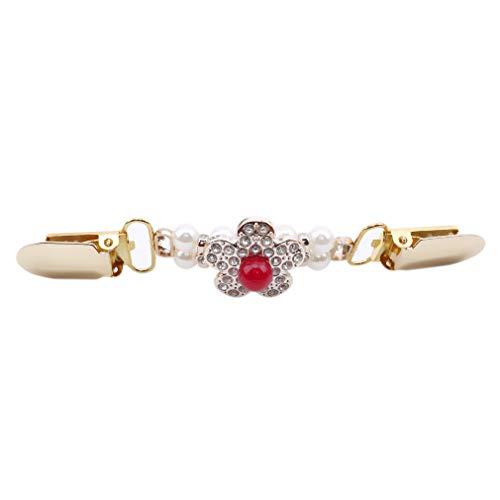 CAVIVIUK Chandail Clips pour Femmes Rétro Cardigan Clips de Collier Creux Fleur Perle Robes Chandail Châle Cardigan,Blumen