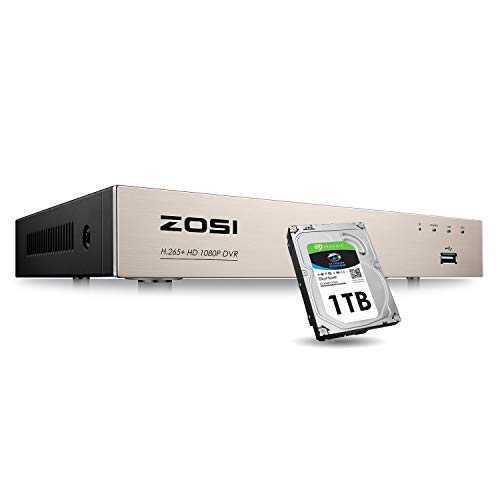 ZOSI 1080N/720P 8 Channels 4-in-1 DVR HD TVI CCTV DVR Security System Network Motion Detection H.265+ 8CH Digital Video Recorder 1TB Hard Drive for 720P,1080P Security Camera System