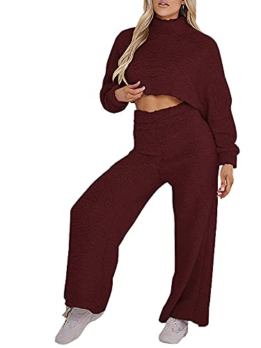 Qtinghua Women's Fuzzy Sweatsuit Mock Neck Long Sleeve Crop Tops Wide Legs Pants Lounge Tracksuit 2Piece Outfits Sets (Wine Red, Large)