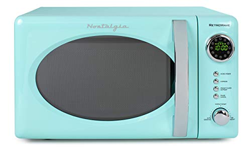 Nostalgia RMO7AQ Retro 0.7 cu ft 700-Watt Countertop Microwave Oven, 12 Pre Programmed Cooking Settings, Digital Clock, Easy Clean Interior, Aqua (Renewed)