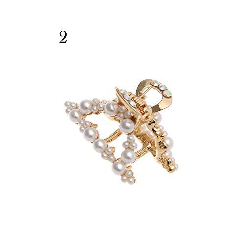 Elegante imitación de perlas de cristal con forma de garra para el cabello, horquilla, cangrejo, aleación, garra para el cabello, señoras, herramientas para el cabello