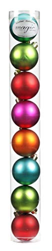 8 Christbaumkugeln 6cm ( Mille-Fiori - bunt ) Kunststoff bruchfest // Dekokugeln Weihnachtskugeln Baumkugeln Baumschmuck Set Inge-Glas Plastik PVC 60mm