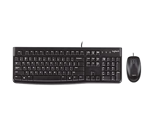 Logitech MK120 Wired Keyboard and Mouse for Windows, Optical Wired Mouse,...