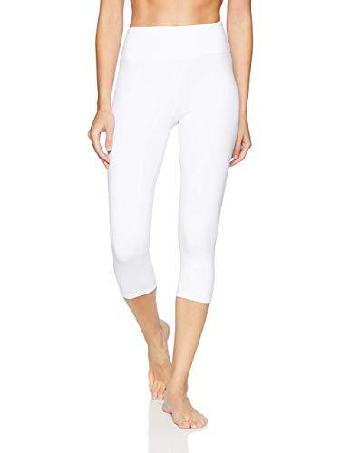 Splendor flying Women's Yoga Capri Legging Inner Pocket Non See-Through Fabric Leggings, Sfv074 White, Large