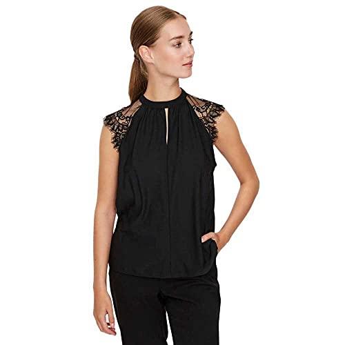 Vero Moda Vmmilla SL Lace tee Ga Noos Camiseta sin Mangas, Negro, XS para Mujer