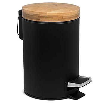 Foto di Kazai. 3l Design pattumiera per Cosmetici   Coperchio in Legno di bambù con Chiusura Automatica   pattumiera Anti-Impronta e Pedali Comfort   Nero