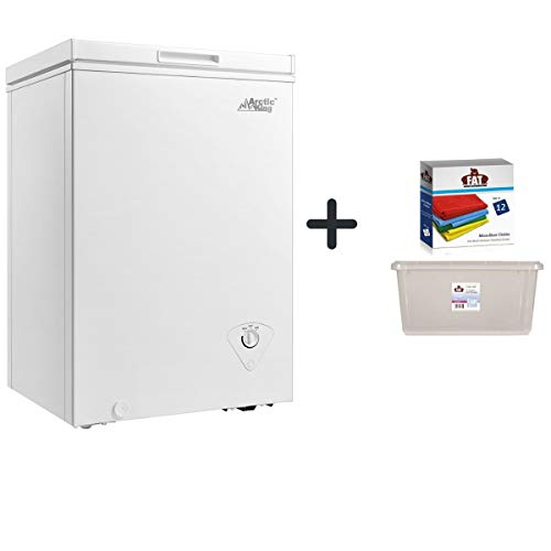 Arctic King Chest Freezer, 3.5 cu ft, White + a Dozen of Cleaning Clothes with Clear Storage