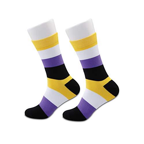 JXGZSO 1 Paar Socken ohne Binär Pride Flagge, kein Binär Geschenke LGBT Nonbinär Geschenk Pride Queer Non-Binary Geschenk Gr. M, Non Binary Pride Flaggen-Socken 3.0, 1 Paar