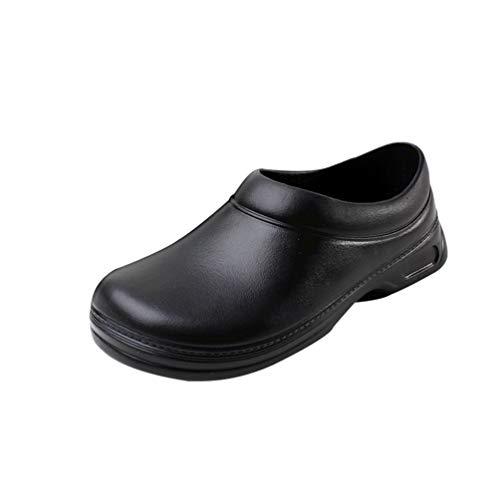 Haobing Unisex Zapatos de Trabajo para Restaurante Calzado de Seguridad para Cocineros Antideslizante Zapato Chef (Negro#1, 42 EU)