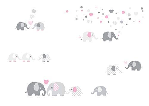 lovely label Wandsticker selbstklebend ELEFANTEN ROSA/GRAU - Wandaufkleber Kinderzimmer/Babyzimmer mit Elefanten in versch. Farben - Wandtattoo Schlafzimmer Mädchen & Junge, Wanddeko Baby/Kinder