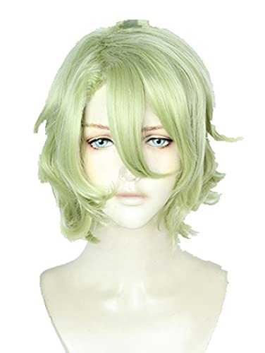 Ensemble Stars Eve Tomoe Hiyori Wig Cosplay Costume Short Matcha Curly Light Green Heat Resistant Synthetic Hair Wigs
