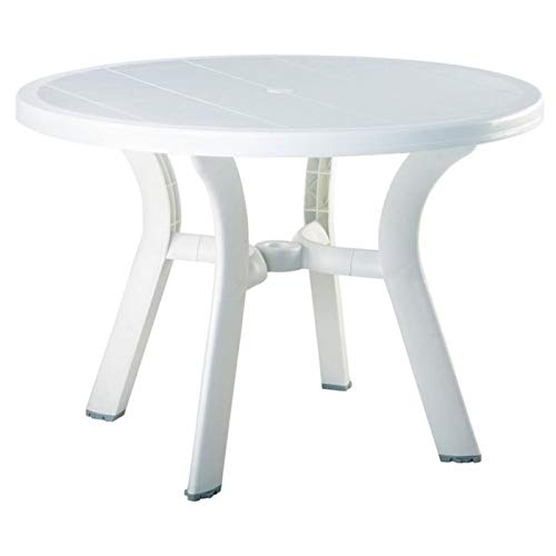 Pemberly Row 42' Round Resin Patio Dining Table in White, Commercial Grade