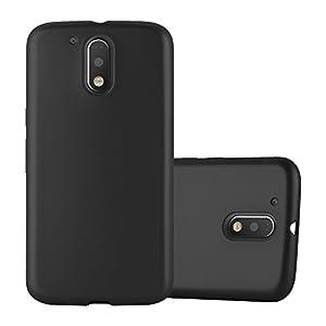 Cadorabo Funda para Motorola Moto G4 / G4 Plus en Metallic Negro - Cubierta Proteccíon de Silicona TPU Delgada e Flexible con Antichoque - Gel Case Cover Carcasa Ligera