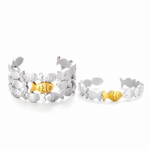 Breale 2 anillos de natación contra la actualidad, anillo abierto ajustable, regalo de boda para mujeres y hombres