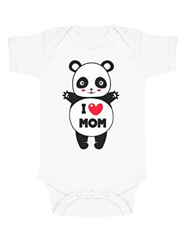 Green Turtle Fête des Mères - Panda I Love U Mom Body Bébé Manche Courte 0-3 Mois Blanc