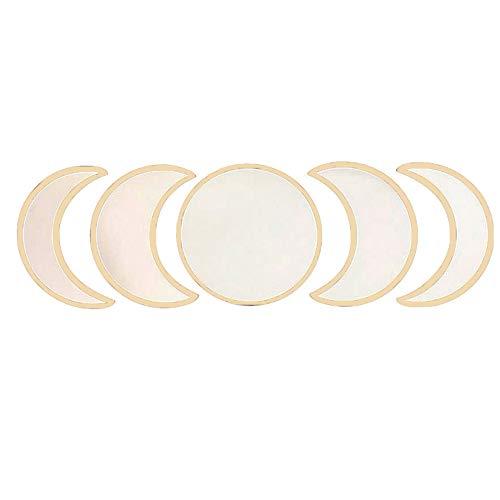 Koitniecer Juego de Espejos de Fase Lunar de Vidrio, 5 Piezas de acrílico de Madera, Espejo Decorativo de Pared para la decoración del Dormitorio de la Sala de Estar del hogar (Beige, One Size)