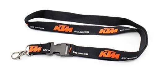 Marken Schlüsselband, Key holder - Schwarz, Orange mit Clip und Karabiner