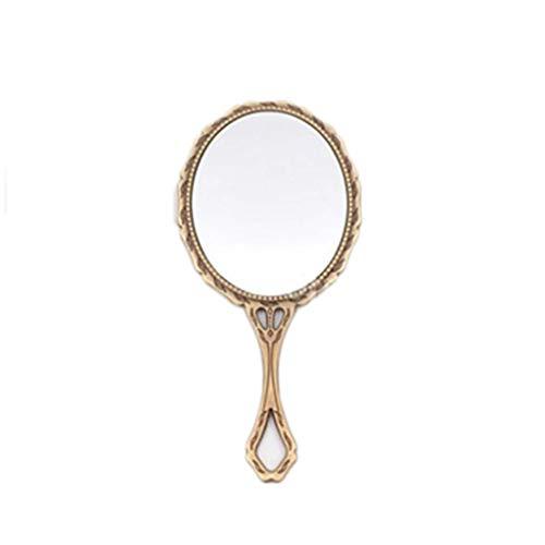 Decorative mirror-QFF Rétro petit miroir, Miroirs de poche en métal Princesse tenue miroir de maquillage Portable Vanity Mirror Taille Voyage étanche Miroir (Color : Gold, Size : 13.5 * 6.5CM)