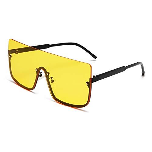 ZRTYJ Sonnenbrillen Fashion Square Semi-Randlose Sonnenbrille Herren Übergroßen Metallrahmen Retro Persönlichkeit Damenbrille