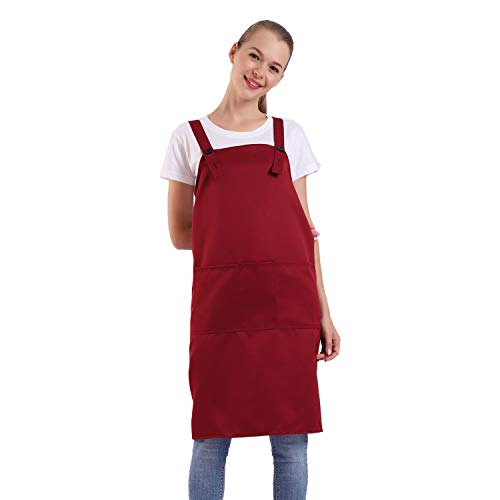 BIGHAS H Style Apron with Pocket for Women, Men Adjustable Large Size Comfortable, Kitchen, Home, Cooking 12 Colors (Wine Red)