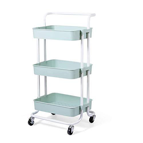 GAXQFEI Foyer Rack 3-Tier Metal Utility Service Cart, Abs Storage Organiser Mesh Basket Shelf for The Kitchen Office Bathroom for Storage,a,42 * 36.5 * 87Cm