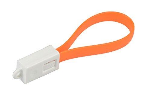 Premium Micro USB Kabel bunt als Schlüssleanhänger. Ladekabel / Datenkabel. 2A-fähig. A-Stecker auf Micro-B-Stecker. High Speed USB 2.0 Flachkabel für z.B. Samsung Galaxy S5 S6 Edge Tab 4 in orange