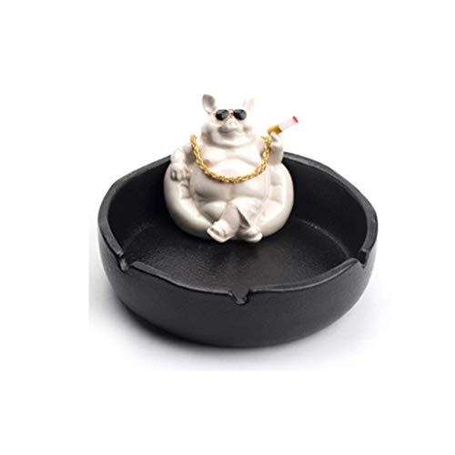 Cenicero Interior Creativo Animal Modelado cerámica cenicero, cenicero Ceniza Grande Capacidad Individual cenicero Decoraciones del hogar 6.1x3.1in cenicero Novedad (Color: Azul) Mei (Color : Black)