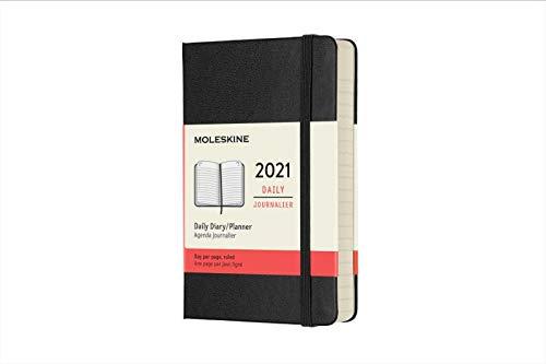 Moleskine - Agenda Giornaliera 12 Mesi 2021, Daily Planner 2021, Copertina Rigida e Chiusura ad Elastico, Formato Pocket 9 x 14 cm, Colore Nero, 400 Pagine