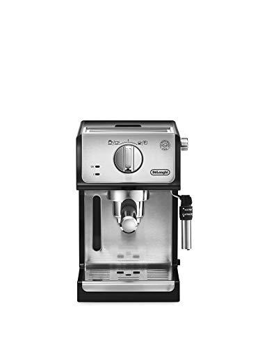 De'longhi - Cafetera de Bomba Tradicional para Espresso y Cappuccino, Admite Café Molido y Monodosis, 2 Tazas Simultáneamente, Depósito de Agua de 1.1 l, 1100 W, ECP 35.31, Negro y Plata