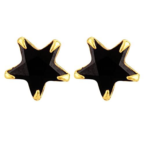 Efulgenz Pendientes chapados en oro amarillo de 18 quilates solitario AAA circonita cúbica CZ Stud desgaste diario joyería para mujeres