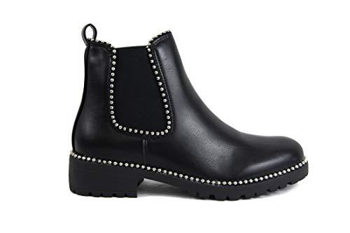irisaa Damen Chelsea Boots Kurze Stiefeletten mit Blockabsatz, Größe Normal:36, Winterschuhe Farbe 2019:Schwarz-Nieten