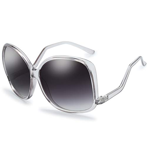 Women's Oversized Square Jackie O Cat Eye Hybrid Butterfly Fashion Sunglasses - Exquisite Packaging (729904-Crystal Grey, Gradient Grey)