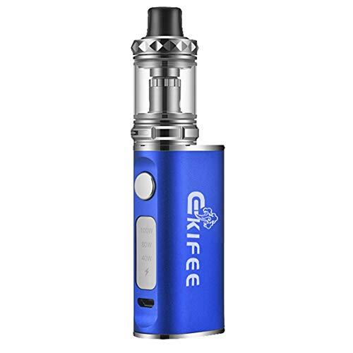 Trosetry Sigaretta Elettronica Kit Completo, 100W BOX MOD Batteria da 2000 mAh + 3ml Atomizzatore Top Fill, Senza Nicotina, Oro Argento (Blu)