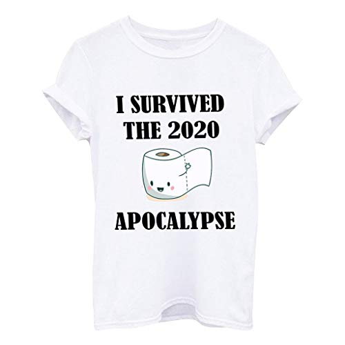Dasongff Damen I Survived The Panic of 2020 T-Shirt Toilettenpapier Grafik Kurzarm Rundhals Tops Lustiges Shirts Tee Basic Oberteile Lose Sommertops