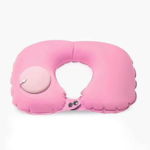 Almohada inflable del cuello de la almohada totalmente ajustable del cuello para el avión del viaje | coche fácil llevar la prevención de la fatiga de la oficina -rosa