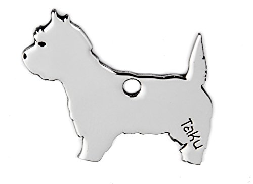 West Highland Terrier colgante llavero de acero inoxidable Dog-tag bolsa percha mascotas Regalo