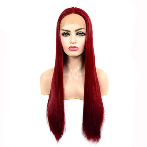 HuiQing Zhang Perruque Avant de Dentelle avec de Longs vin Dentelle Cheveux raides Rouge Longue Perruque de Dentelle Perruque (Color : Claret)