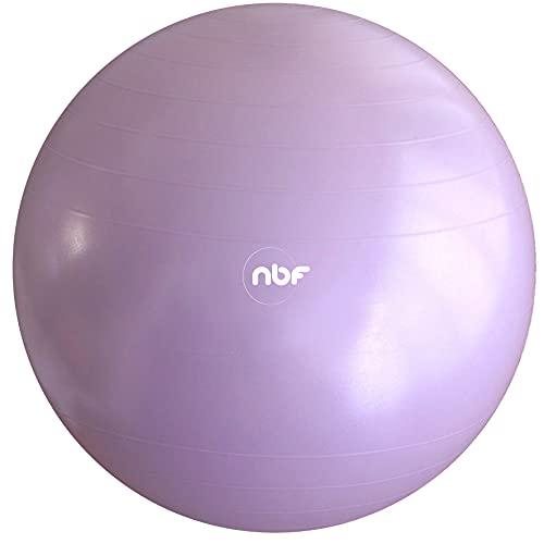 NBF Pelota de Gymnasia de 75cm, Balón de Ejercicio, Pelota de Nacimiento, Incluye Bomba e Instrucciones para el Embarazo, el Ejercicio y el Parto 75cm Lila