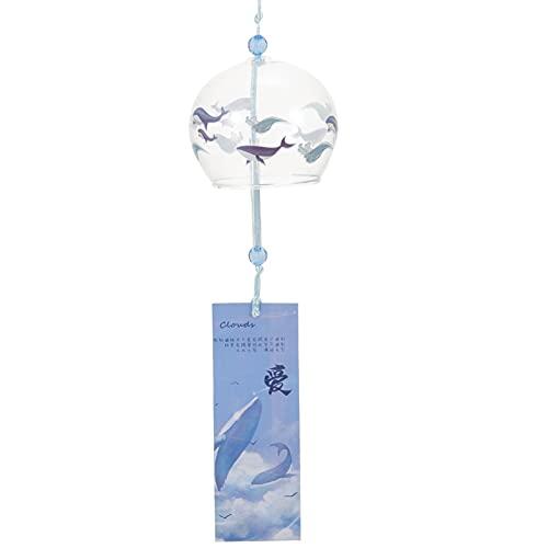 Amosfun Campana de viento de cristal decorativa para el jardín japonés, campana, para colgar en la pared, decoración para el hogar, estilo japonés y viento