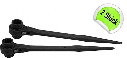 2 x Gerüstbauratsche Gerüstbau Ratschenschlüssel 19-22 Doppel Nuss