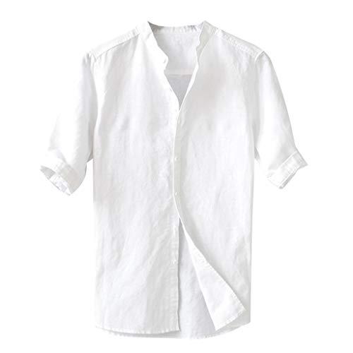 Briskorry Herren Hemd Leinen V-Ausschnitt Kurzarm Button Leinenhemd Sommer Regular Fit Freizeithemd Casual T-Shirt Top