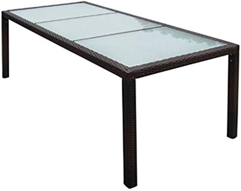 Festnight Garten-Esstisch  Gartentisch  Terassentisch  Rattan Tisch  Braun Poly Rattan und Glas 190 x 90 x 75 cm