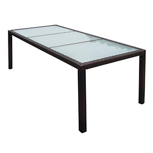 vidaXL Table de Jardin Résine Tressée Meuble Mobilier Terrasse Salle à Manger